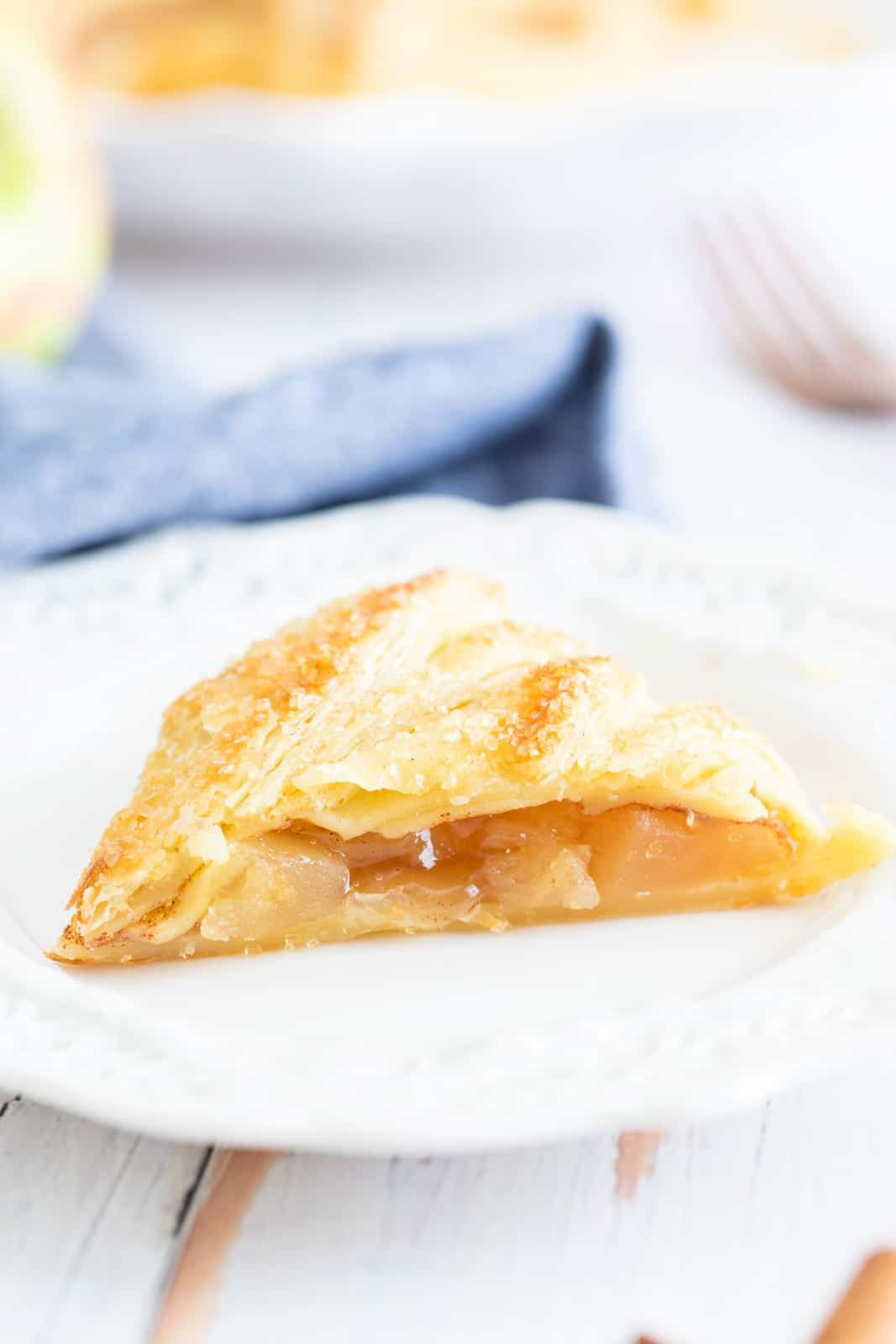 Close up of one slice of Apple Puff Pastry on plate
