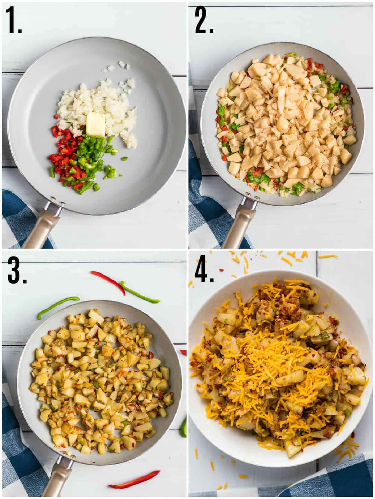 Step by step photos on how to make Cheesy Breakfast Potatoes