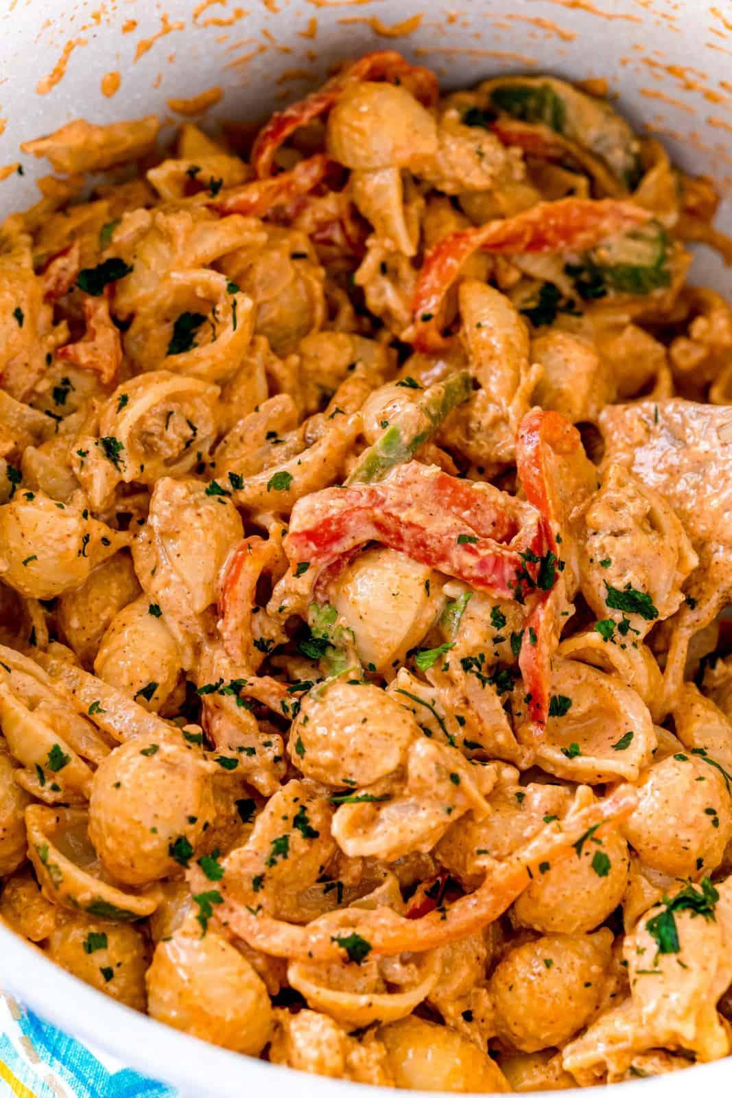 Stirred up pasta in pan
