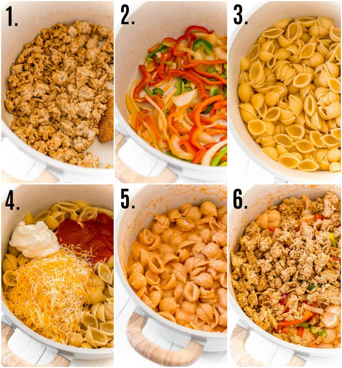 Step by step photos on how to make Chicken Fajita Pasta