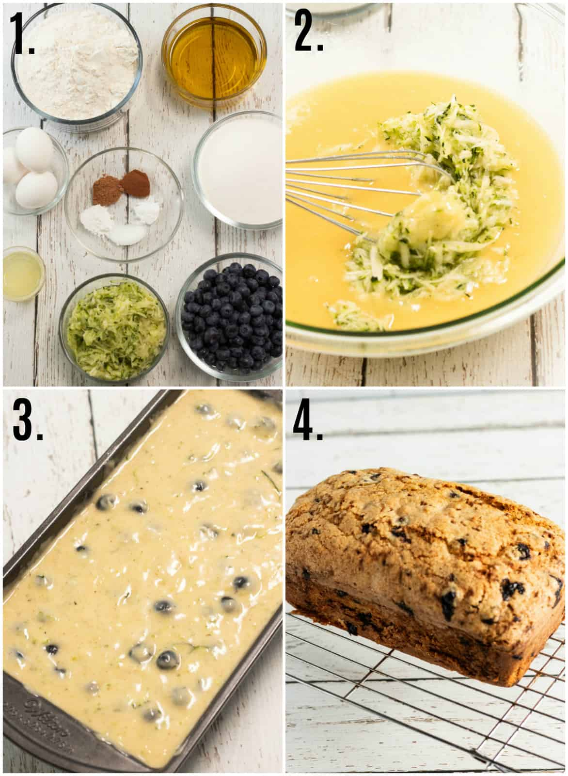 Step by step photos on how to make Lemon Blueberry Zucchini Bread