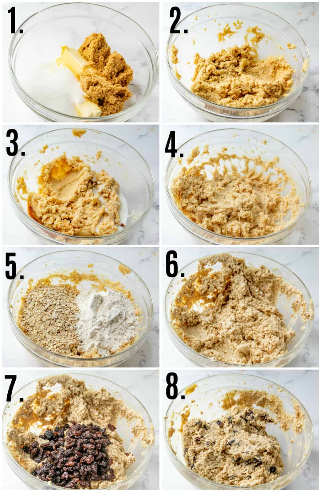 Step by step photos on how to make Oatmeal Raisin Edible Cookie Dough