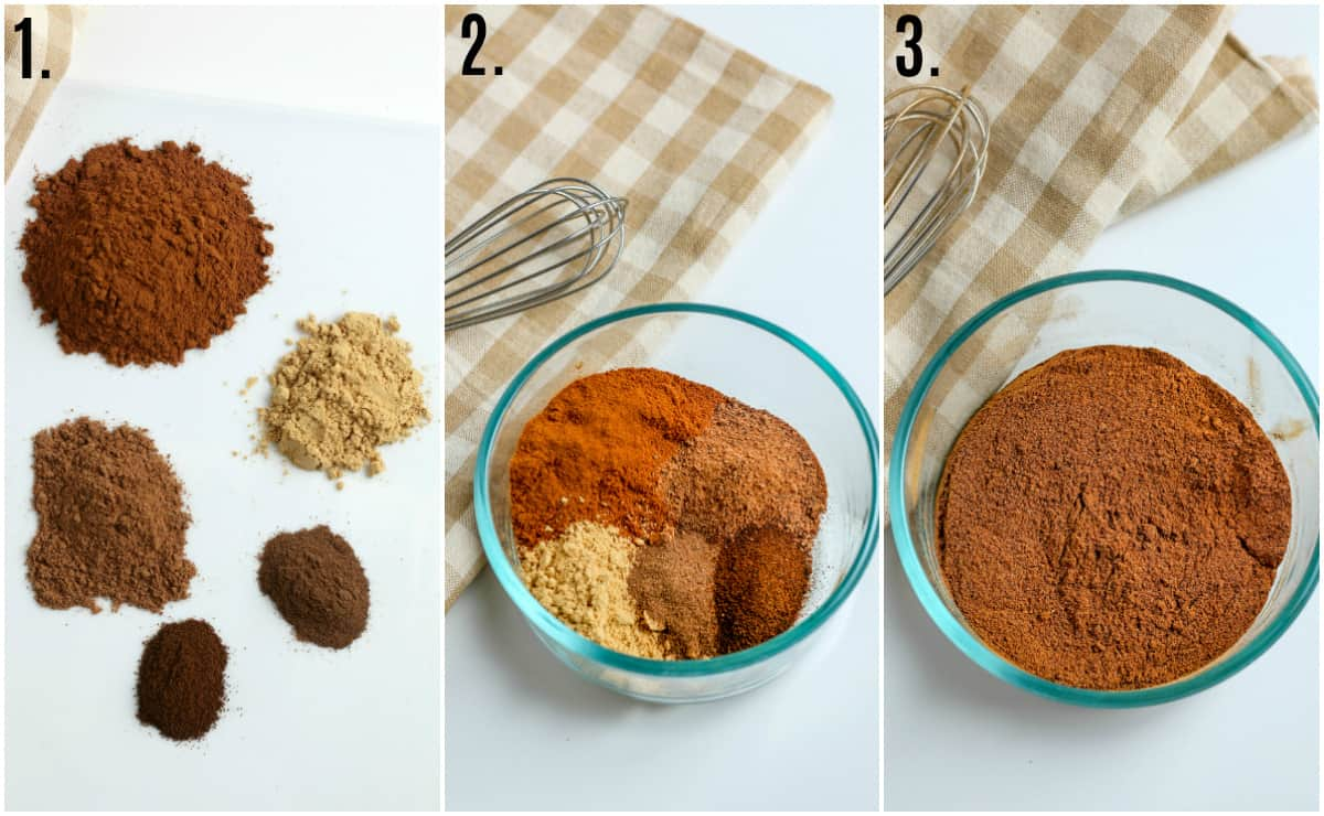 Step by step photos on how to make Pumpkin Pie Spice