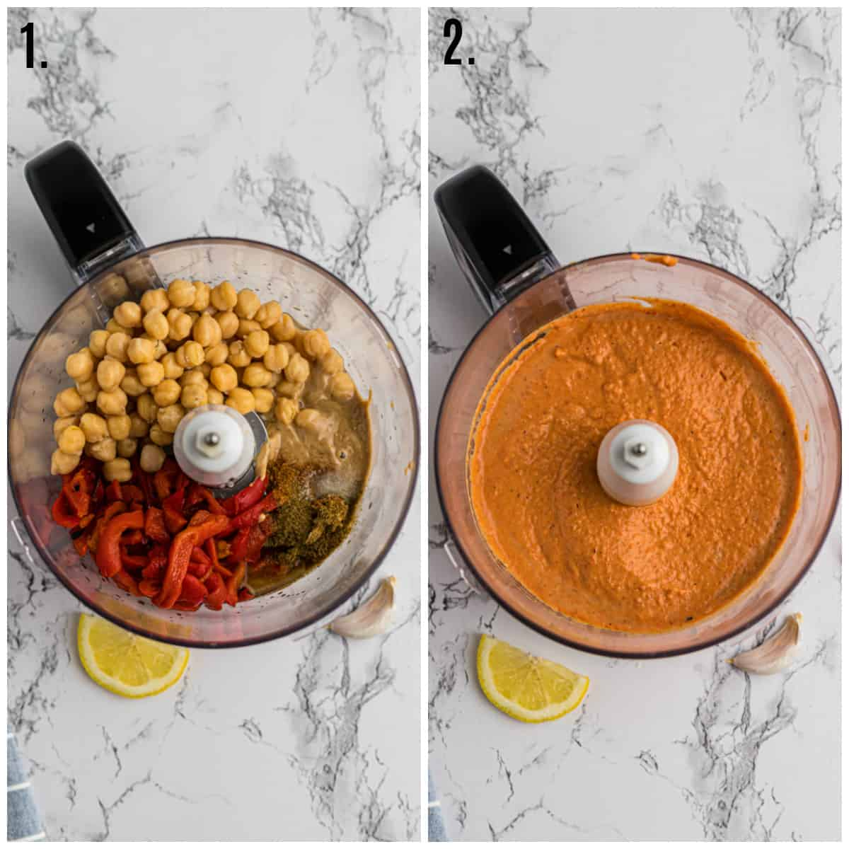 Step by step photos on how to make Roasted Red Pepper Hummus
