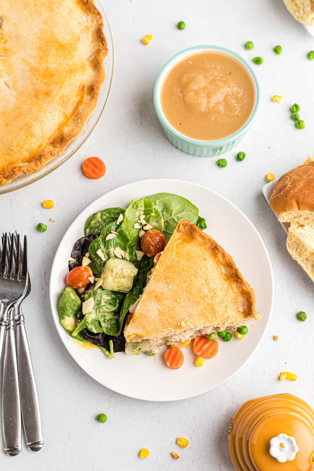 Overhead of pie on plate with salad