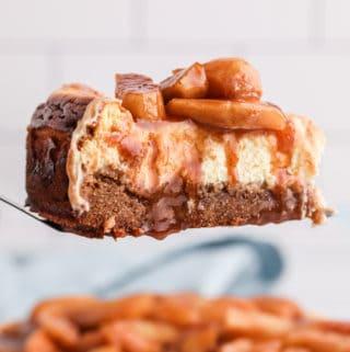 Apple Cheesecake on cake server