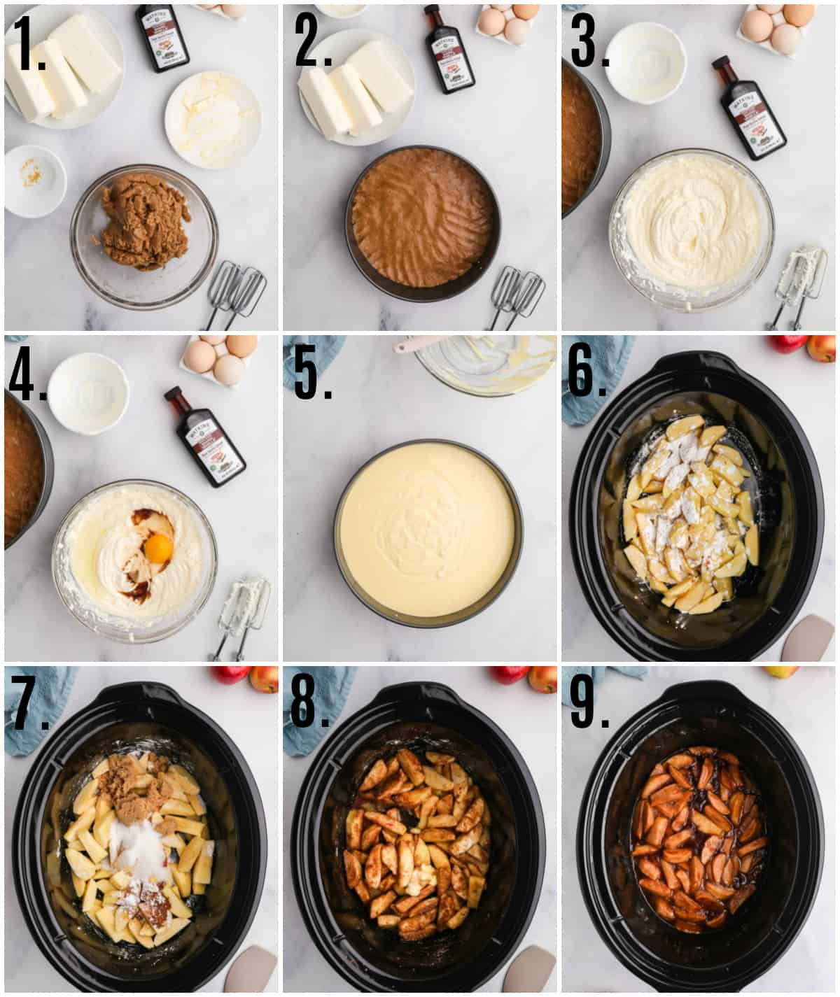 Step by step photos on how to make Cinnamon Apple Cheesecake
