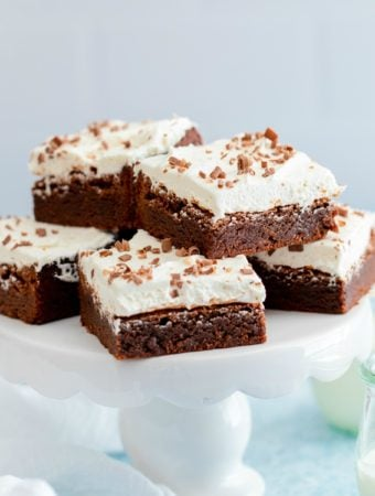 Brownies on cake stand square image