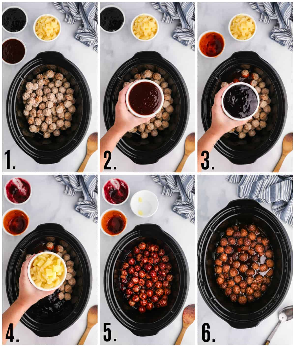 Step by step photos on how to make Sweet & Sour Slow Cooker Meatballs
