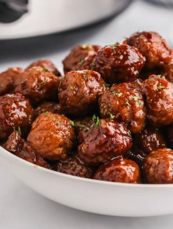 Sweet and Spicy Meatballs in bowl square image