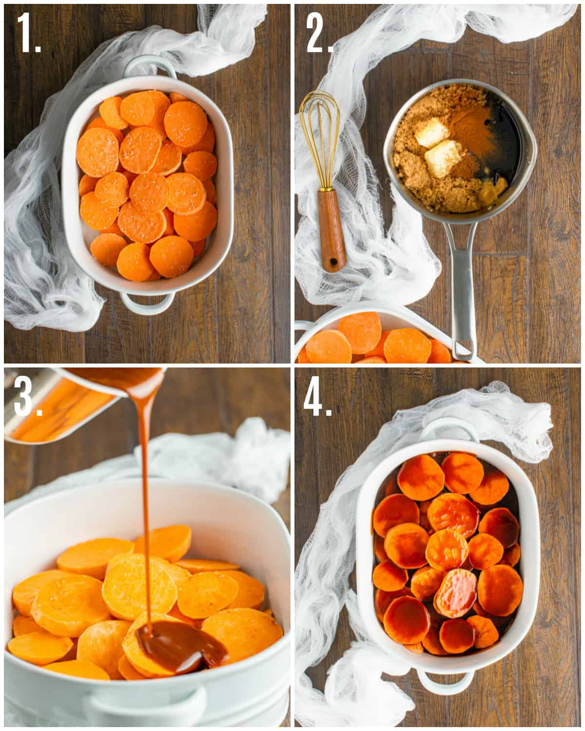 Step by step photos on how to make Candied Sweet Potatoes