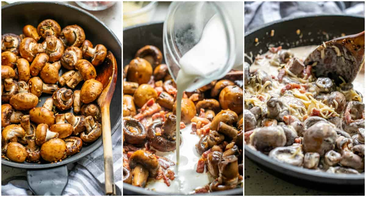 Step by step photos on how to make Creamy Garlic Mushrooms
