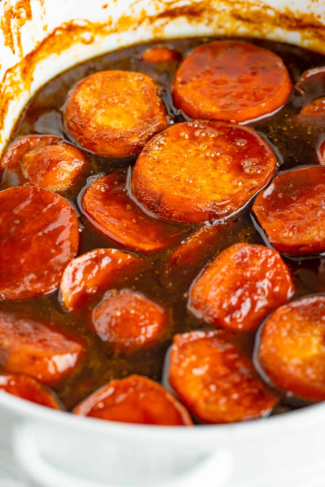 Close up of Candied Sweet Potatoes out of oven
