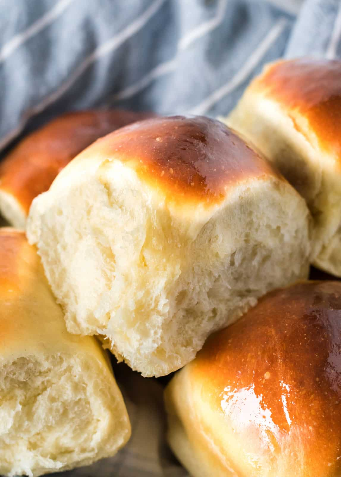 Easy Dinner Rolls stacked in basket
