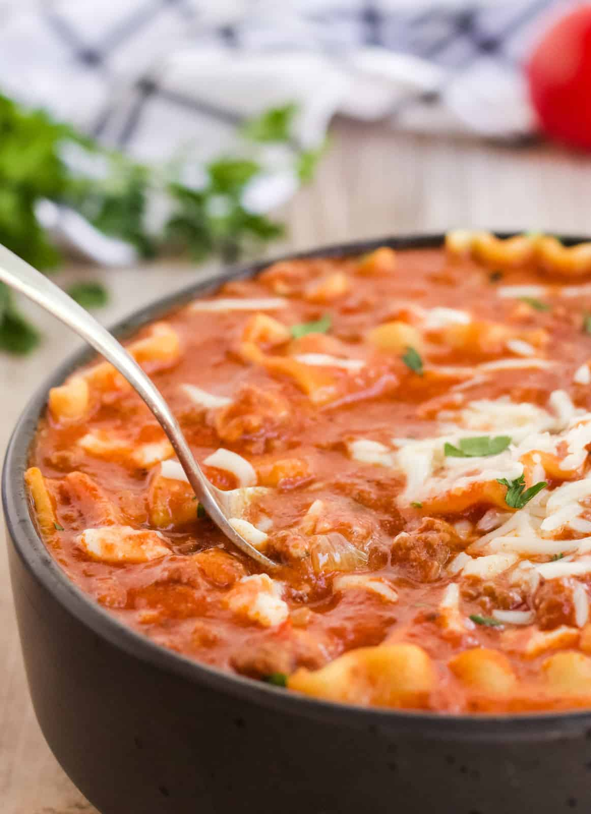 Close up of Lasagna Soup with spoon dipped in