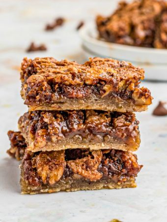Close up of stacked pecan pie bars square image