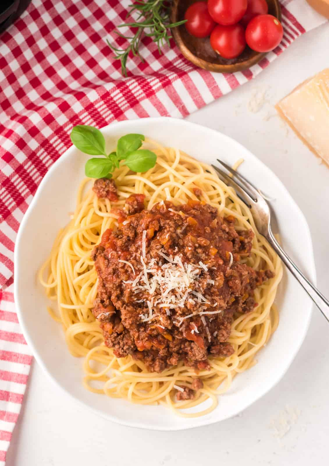 Overhead photo fo Spaghetti with Bolognese Sauce Recipe