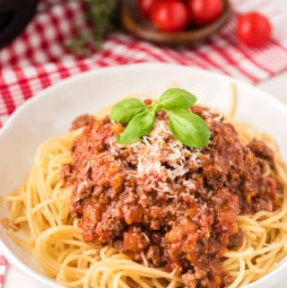 White bowl with spaghetti topped with Bolognese Sauce, cheese and basil