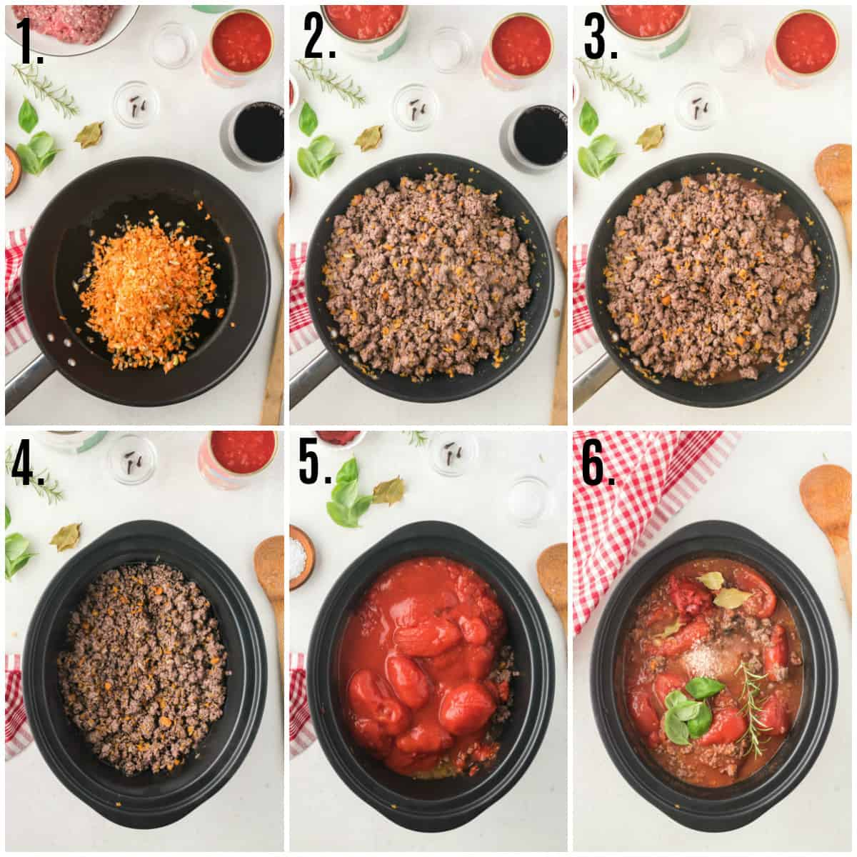 Step by step photos on how to make Slow Cooker Bolognese Sauce
