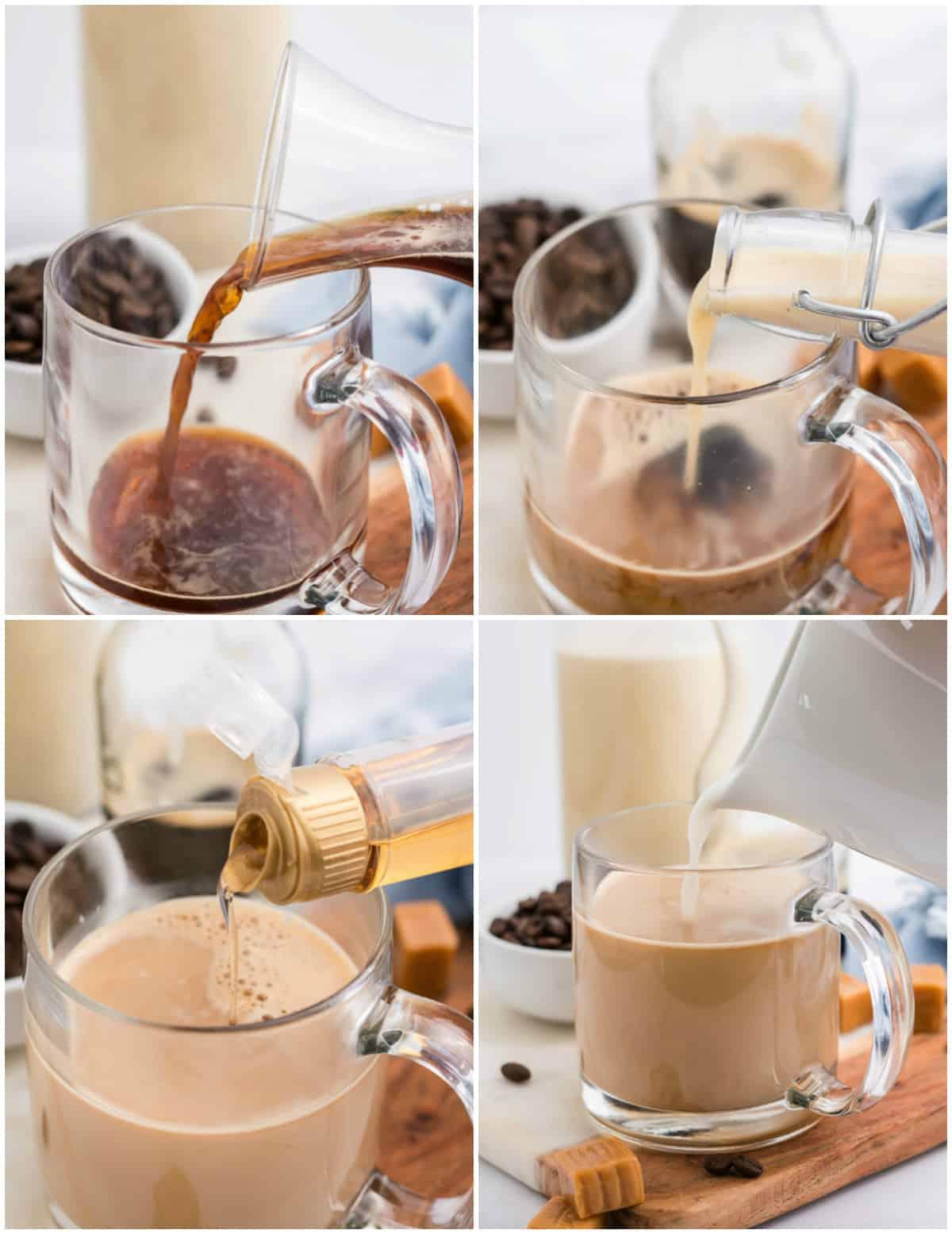 Step by step photos on how to make a Caramel Eggnog Latte