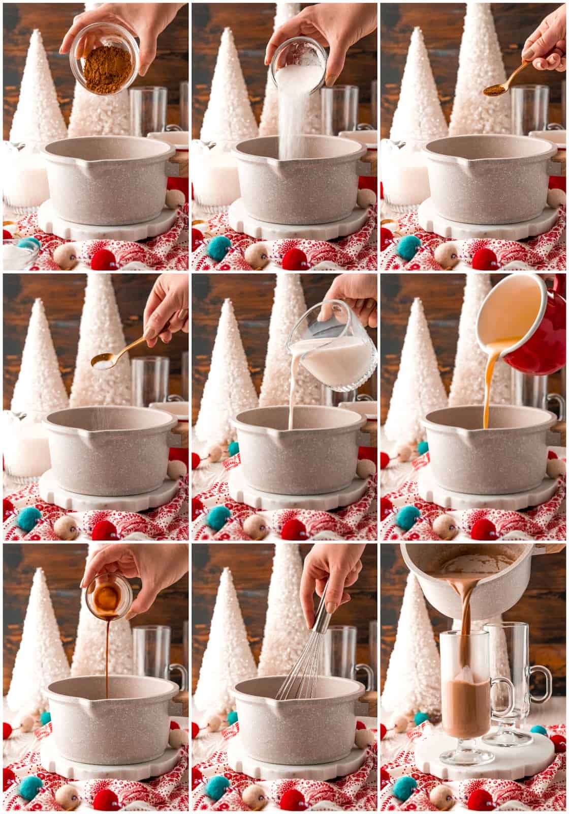 Step by step photos on how to make Eggnog Hot Chocolate