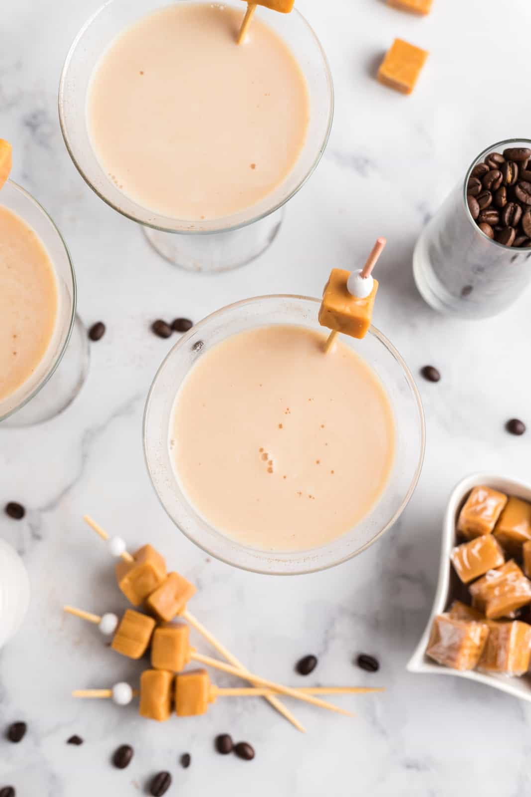 Overhead of two Espresso Martinis with caramels