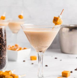Close up of Espresso Martinis with a caramel garnish