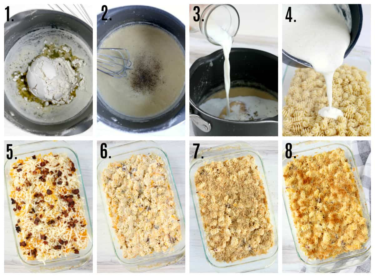 Step by step photos on how to make Bacon Mac and Cheese
