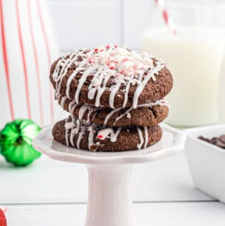 Three stacked Double Chocolate Cookies on stand