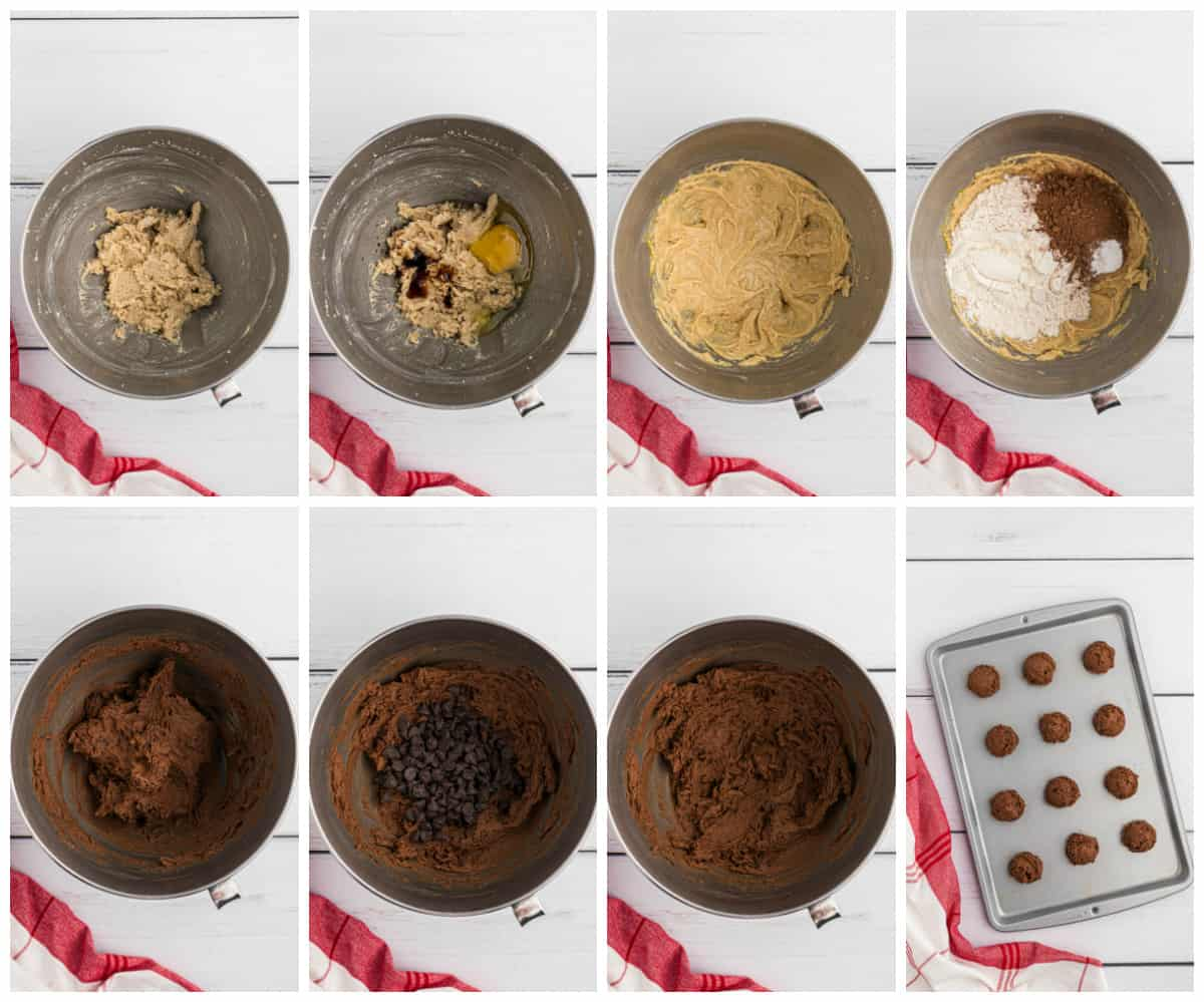 Step by step photos on how to make Peppermint Double Chocolate Cookies