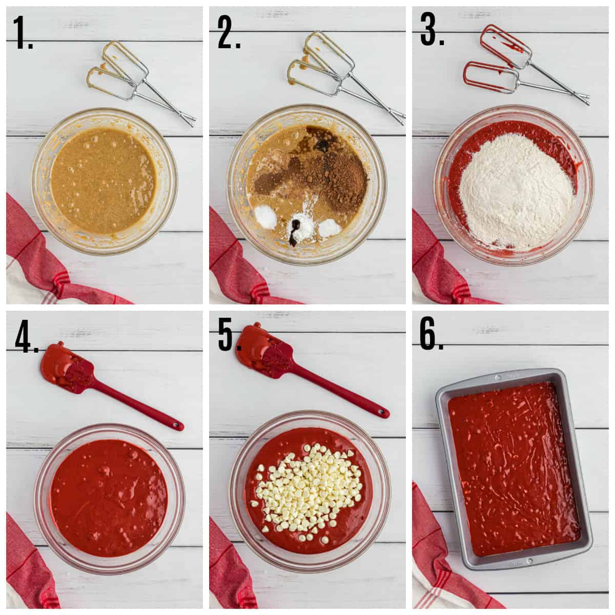 Step by step photos on how to make Red Velvet Brownies