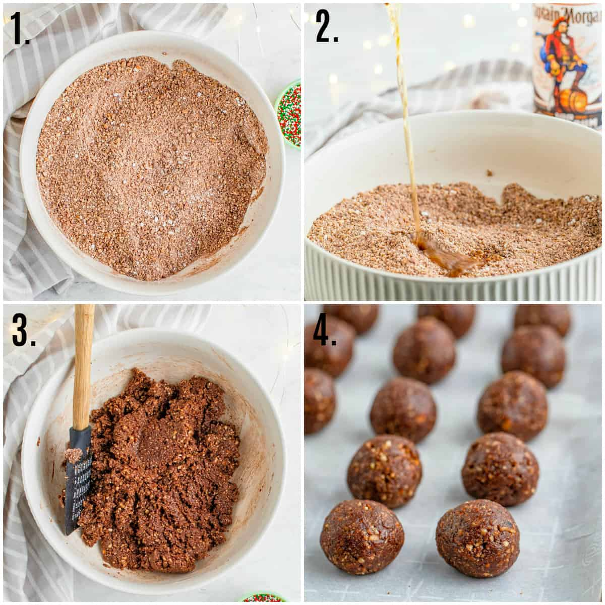 Step by step photos on how to make Rum Balls