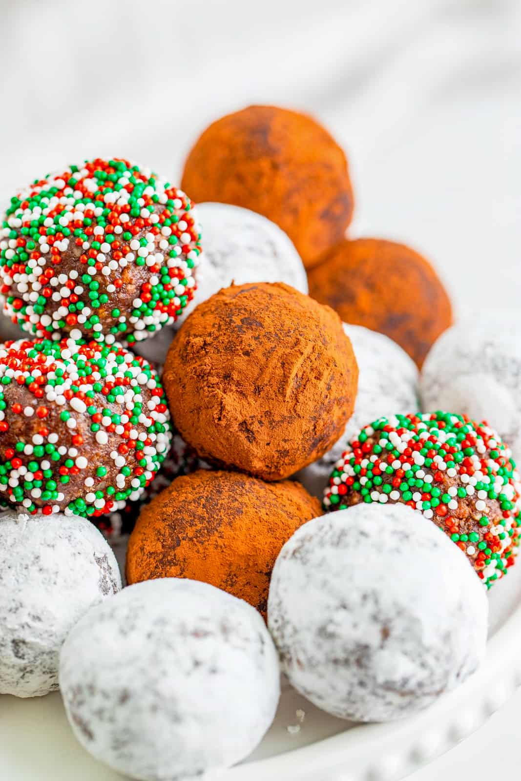 Stacked Rum Balls on cake stand