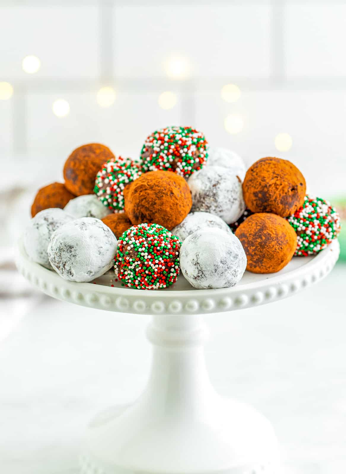 Cake Stand with Stacked Rum Balls