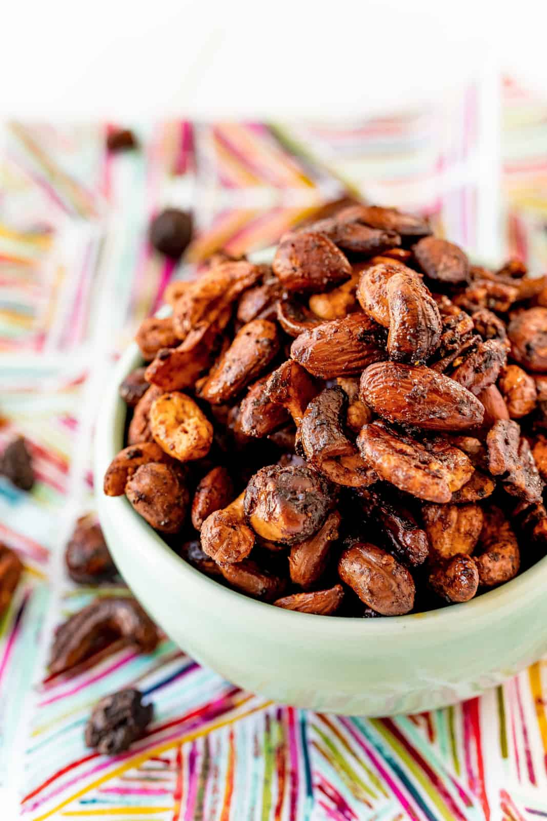 Sweet & Spicy Roasted Nuts in bowl