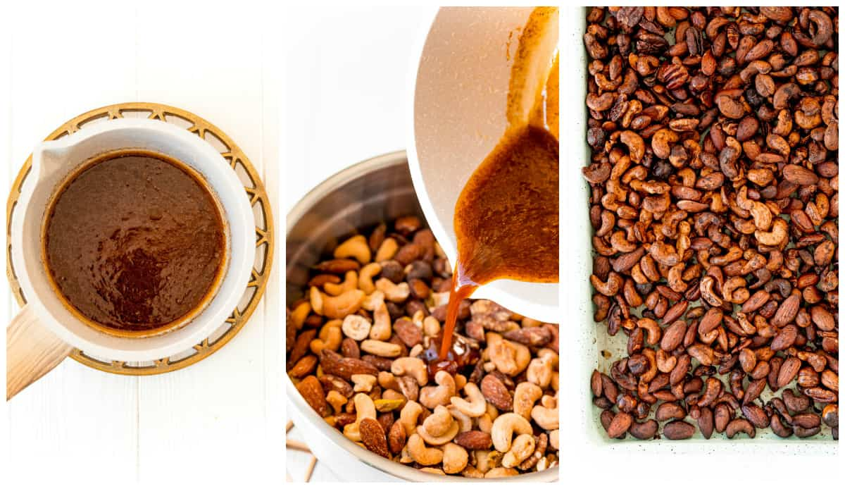Step by step photos on how to make Sweet & Spicy Roasted Nuts