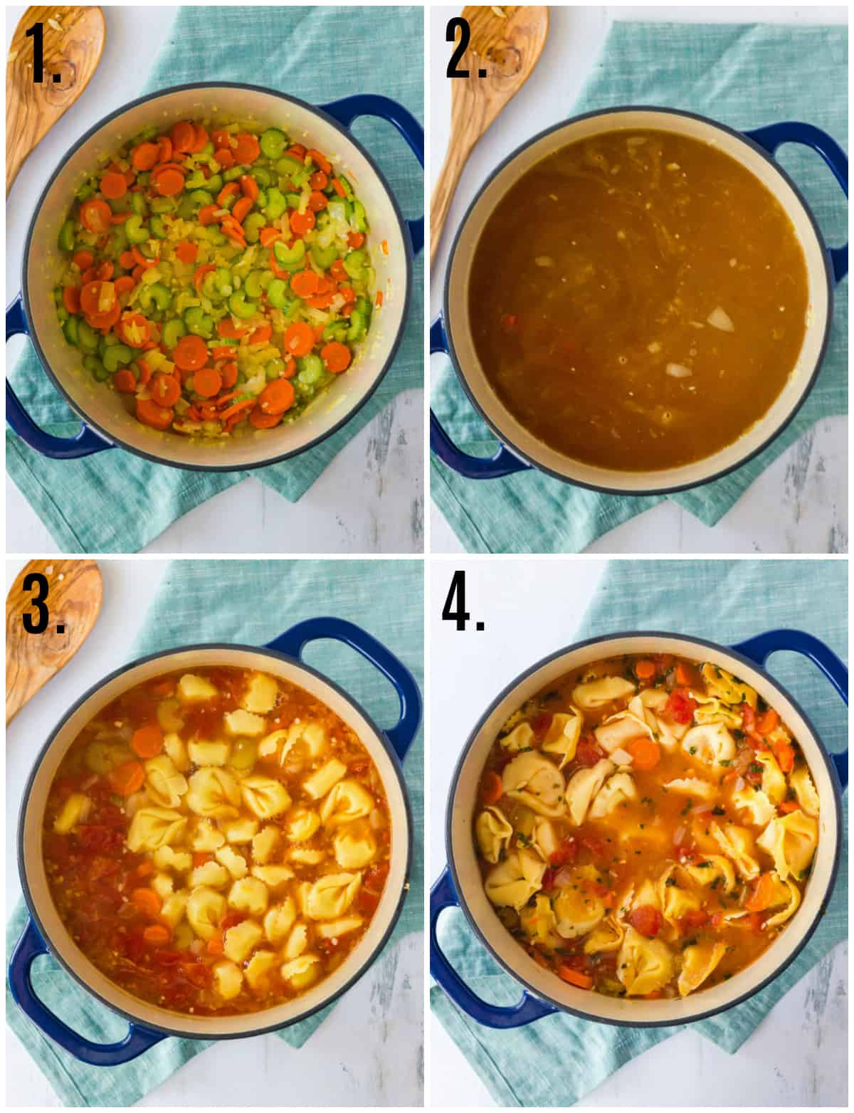 Step by step photos on how to make Tortellini Soup