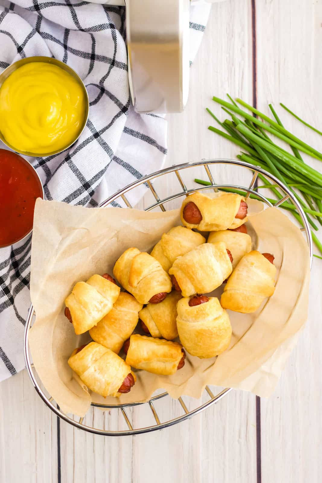 Overhead of Pigs in a Blanket in basket
