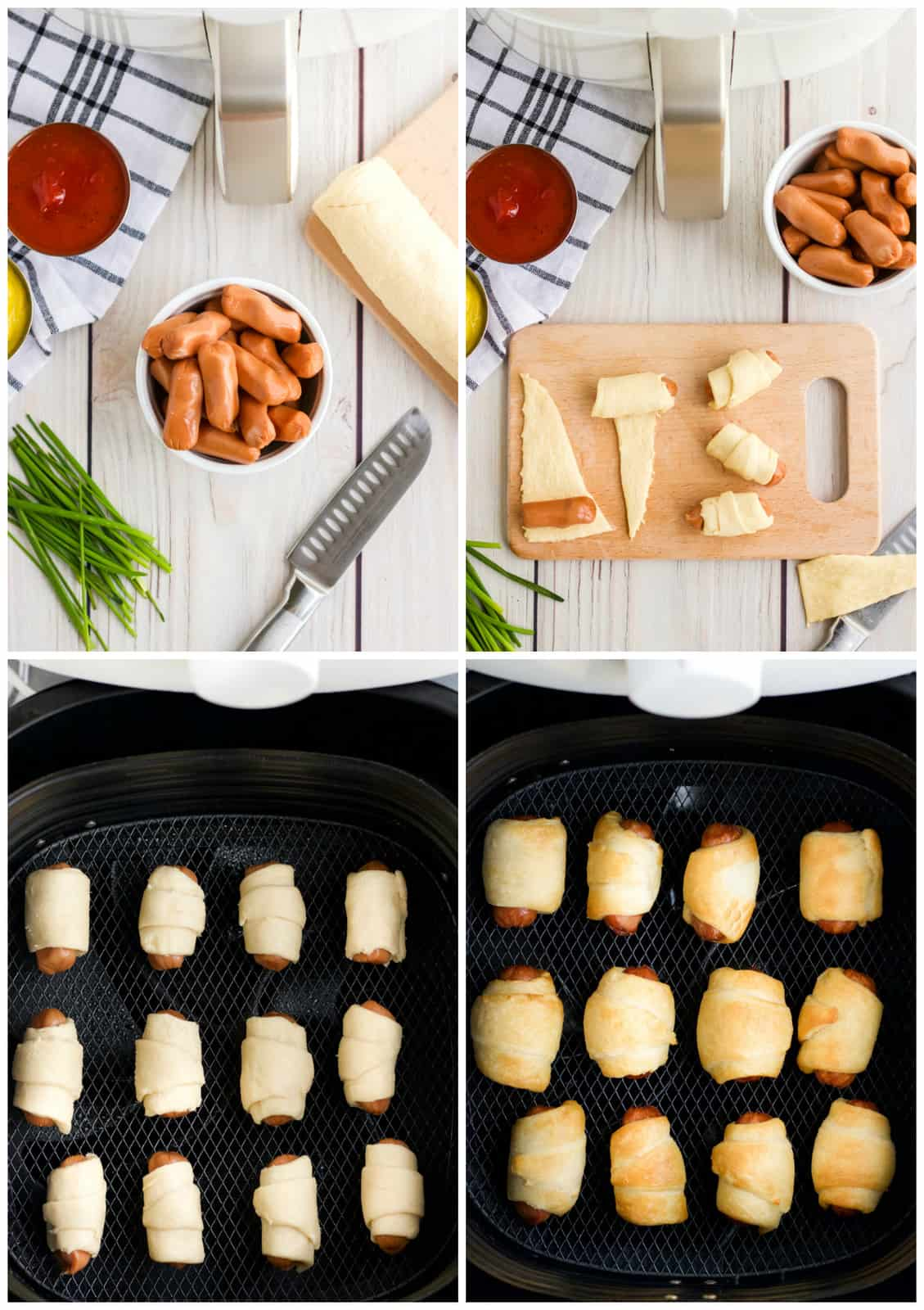 Step by step photos on how to make Air Fryer Pigs in a Blanket