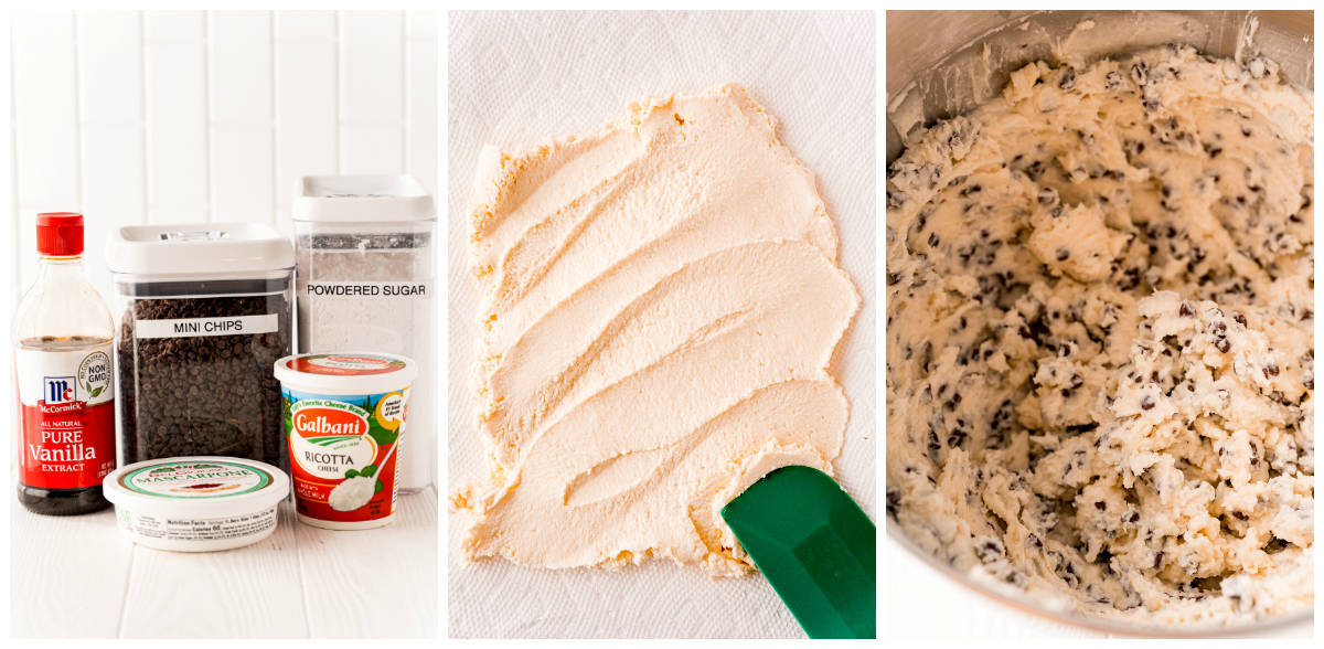 Step by step photos on how to make Cannoli Dip