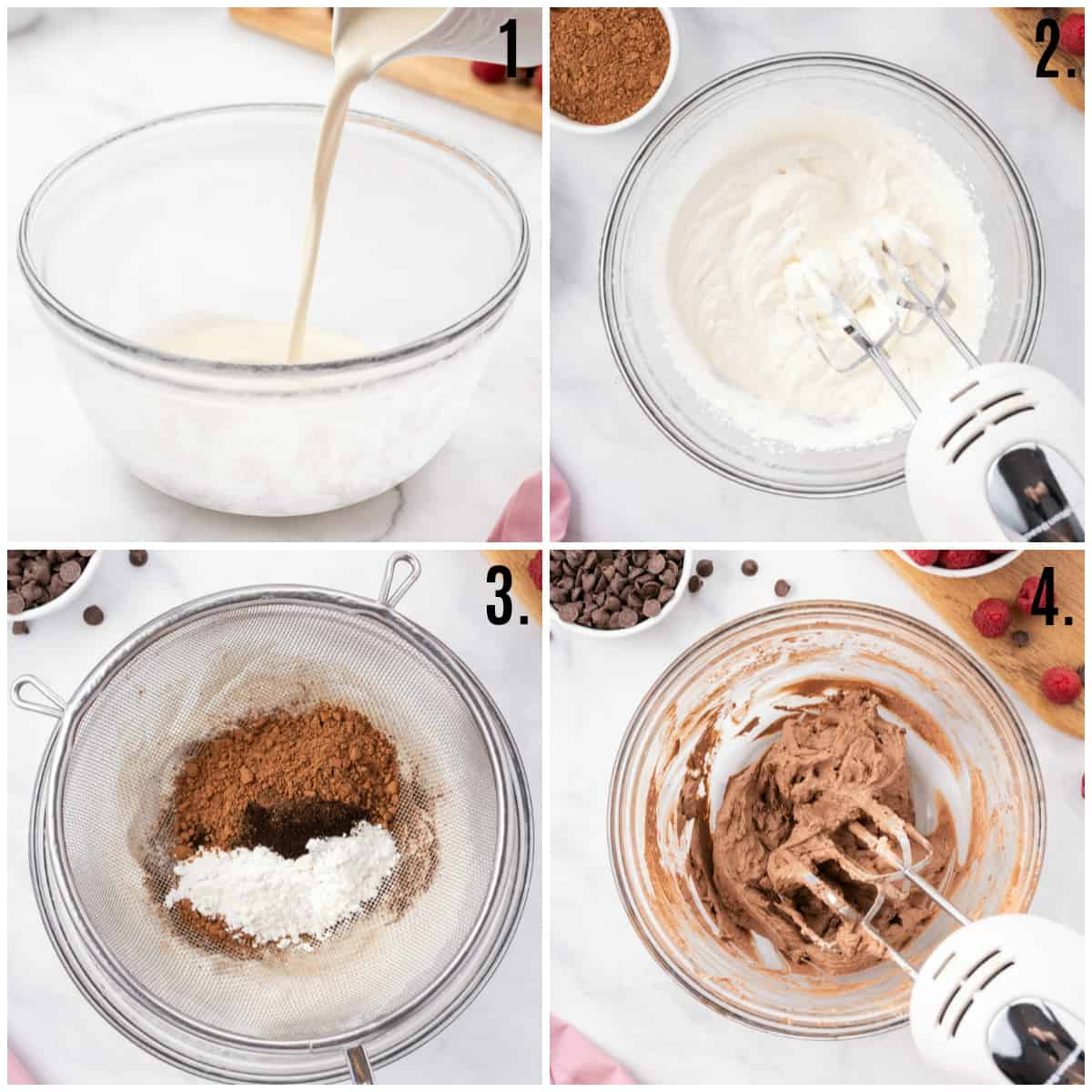 Step by step photos on how to make Easy Chocolate Mousse