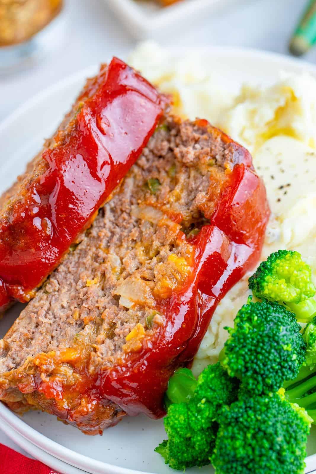 Close up of slices of Cracker Barrel Meatloaf