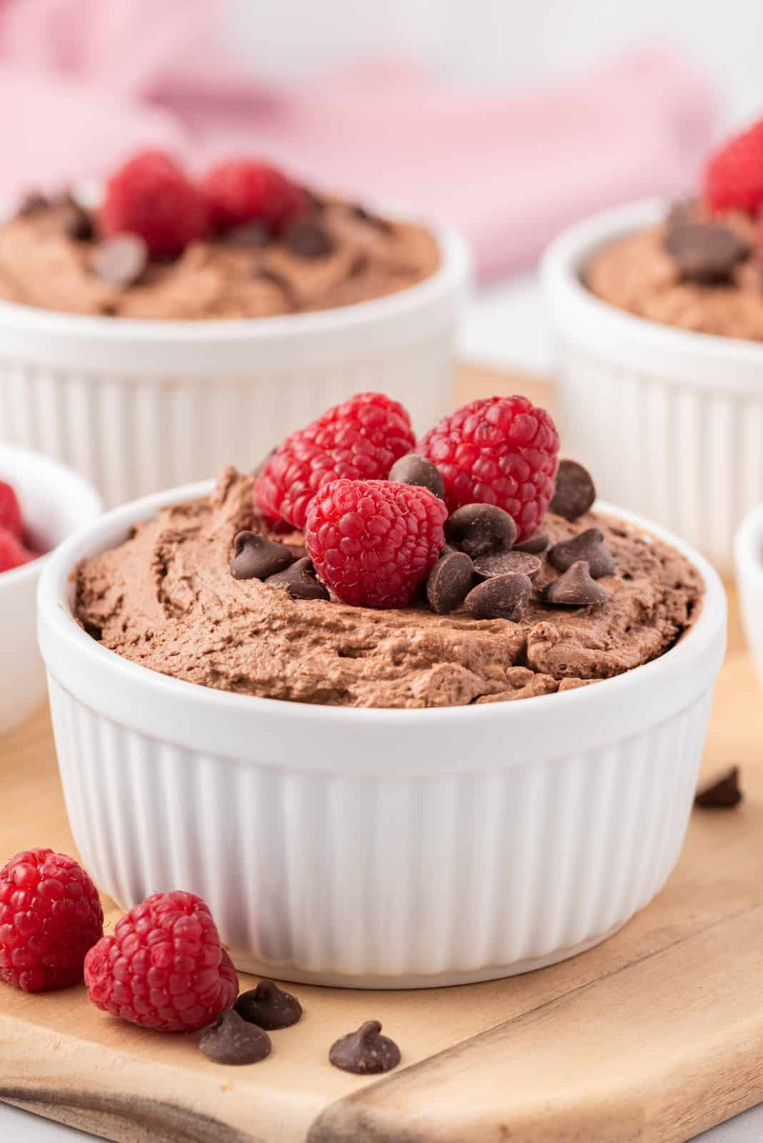 Side view of Easy Chocolate Mousse in bowl