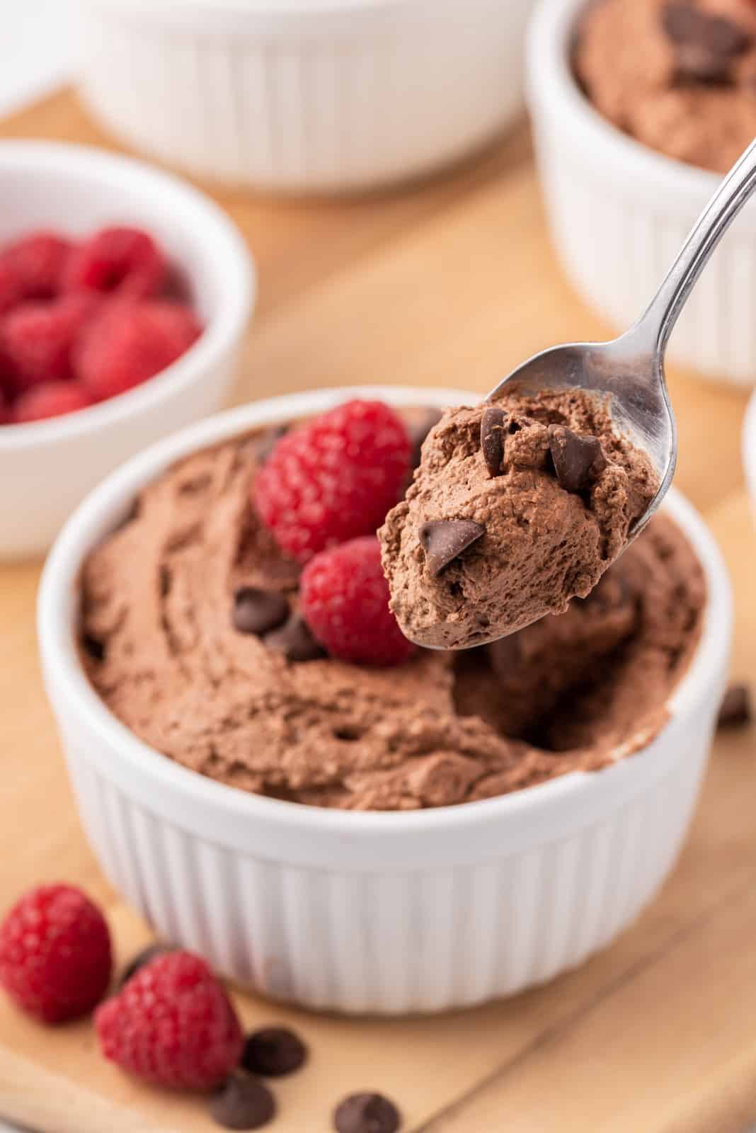Spoonfull held up of Easy Chocolate Mousse