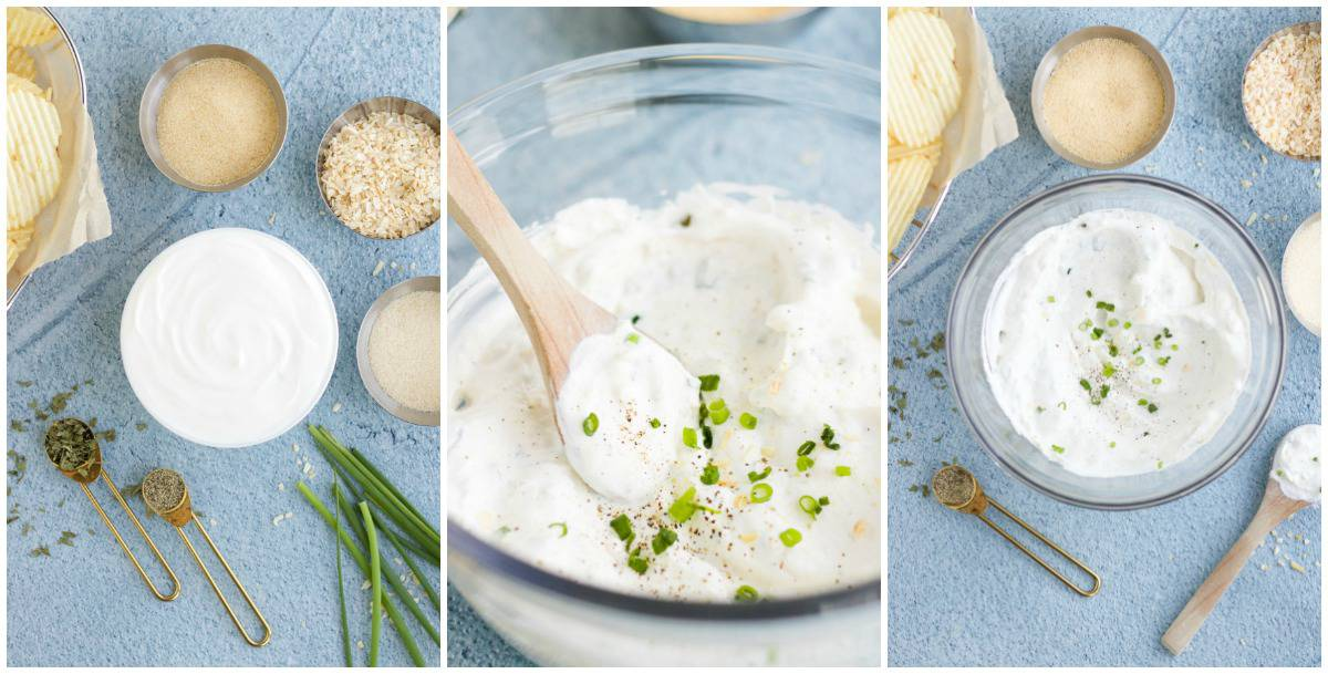 Step by step photos on how to make French Onion Dip