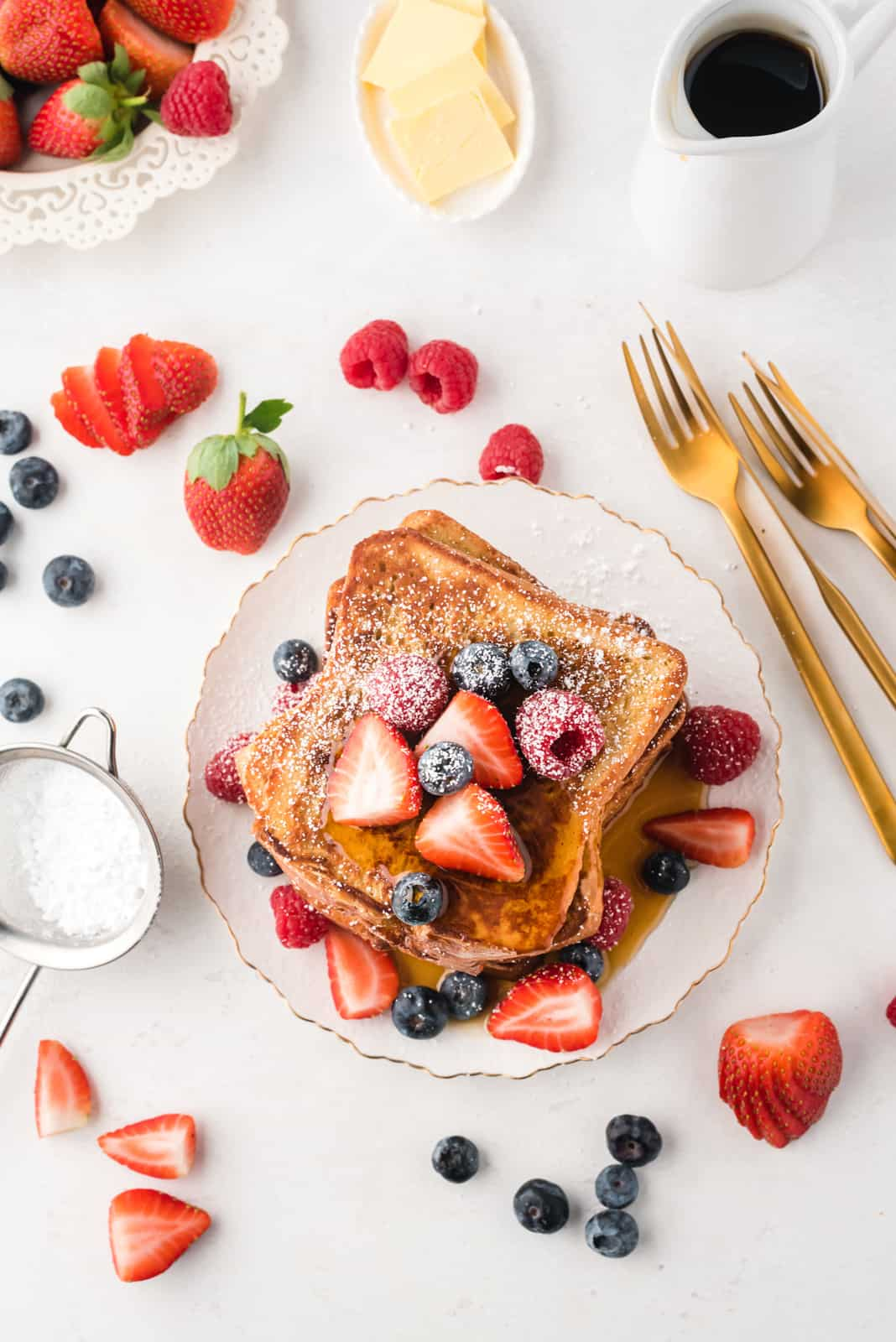 Overhead of French Toast on white plate