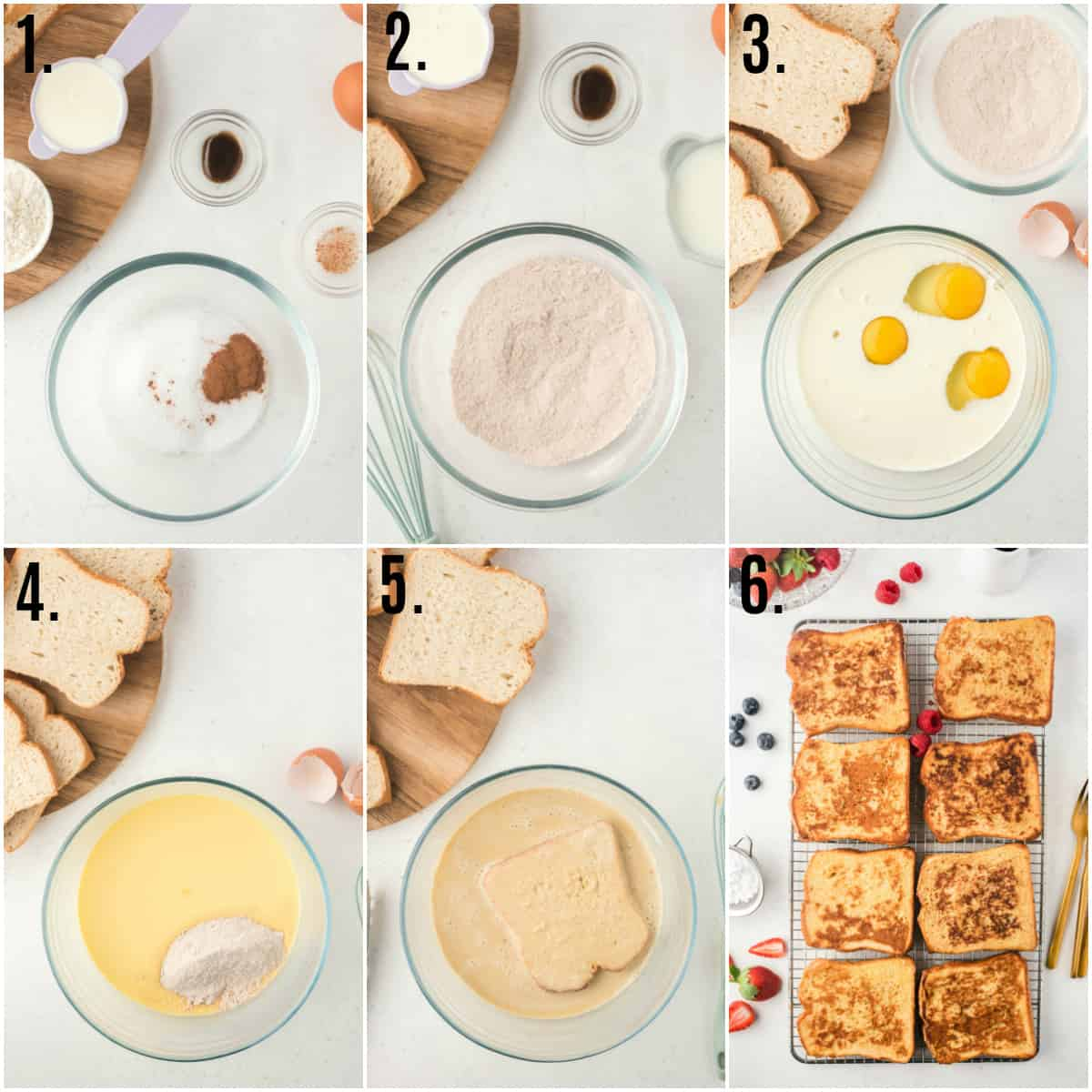 Step by step photos on how to make French Toast Recipe