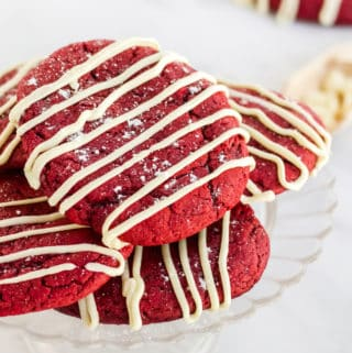 Cheesecake Cookies stacked on platter