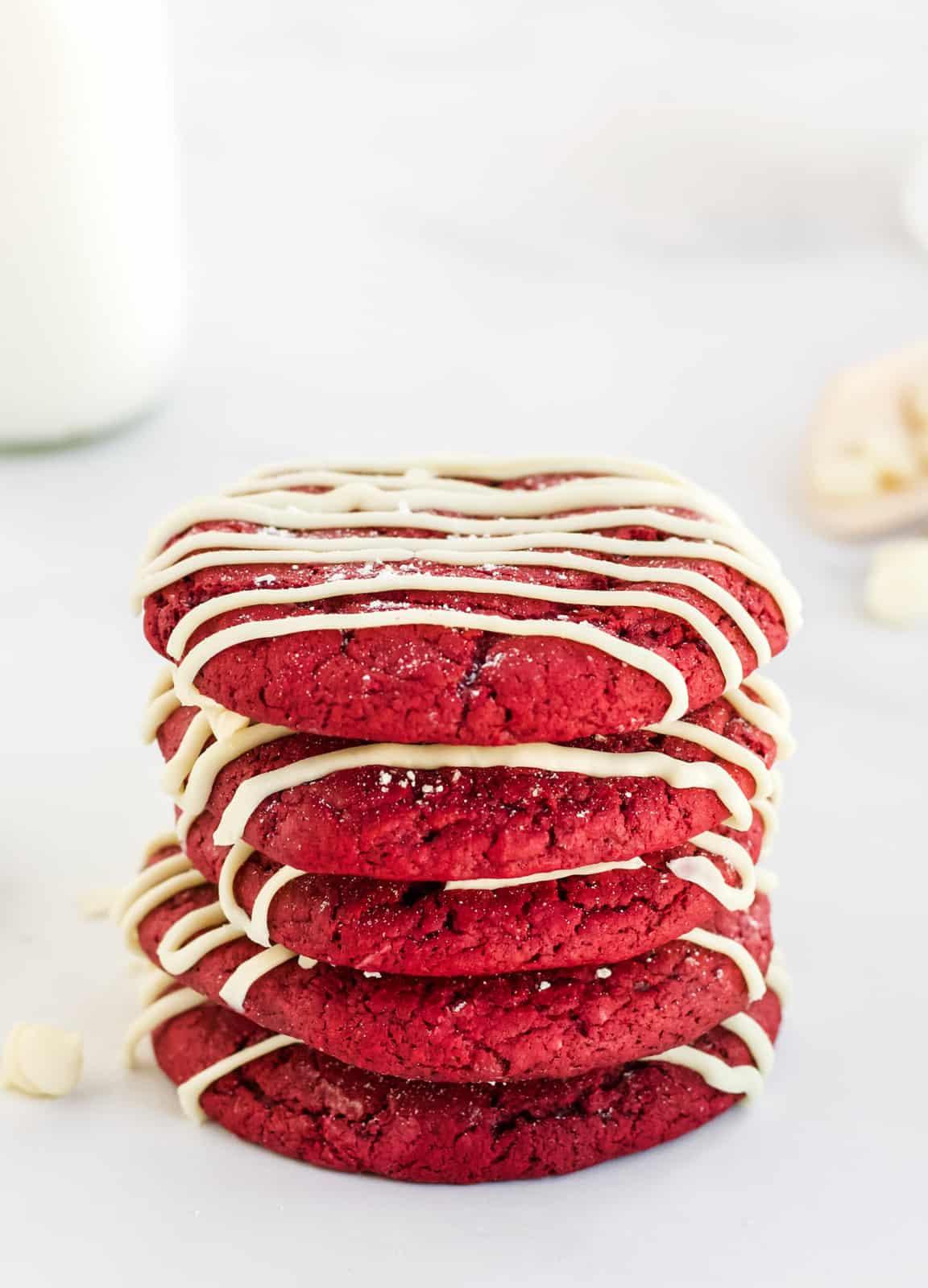 Multiple stacked Red Velvet Cheesecake Cookies