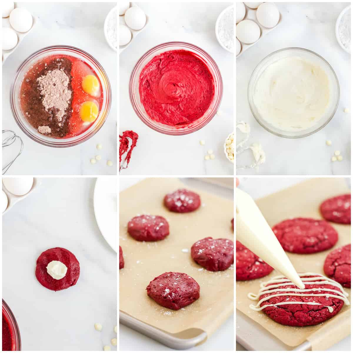 Step by step photos on how to make Red Velvet Cheesecake Cookies